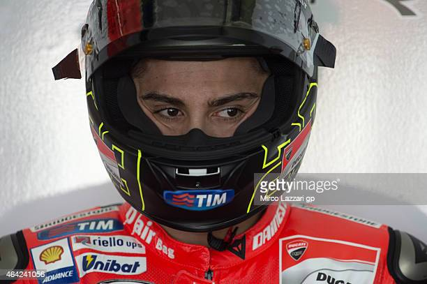 Andrea Iannone of Italy and Ducati Team looks on in box during the MotoGP Tests in Sepang Day One at Sepang Circuit on February 23 2015 in Kuala...