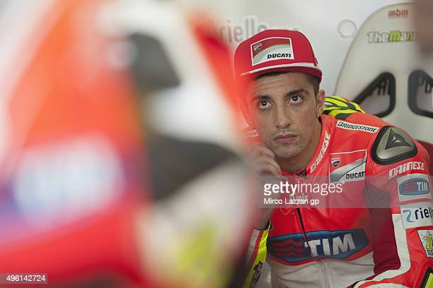 Andrea Iannone of Italy and Ducati Team looks on in box during the qualifying practice during the MotoGP of Valencia Qualifying at Ricardo Tormo...