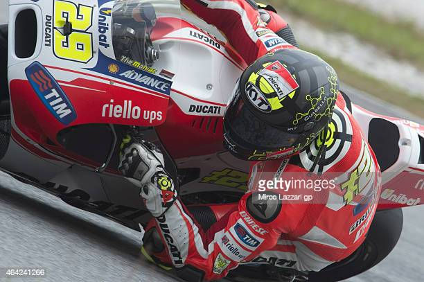 Andrea Iannone of Italy and Ducati Team rounds the bend during the MotoGP Tests in Sepang Day One at Sepang Circuit on February 23 2015 in Kuala...