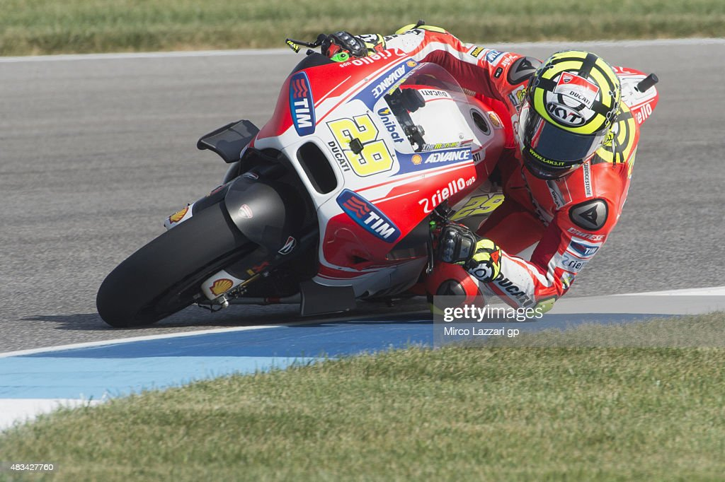 Andrea Iannone of Italy and Ducati Team rounds the bend during the MotoGp Red Bull U.S. Indianapolis Grand Prix - Qualifying at Indianapolis Motor Speedway on August 8, 2015 in Indianapolis, Indiana.