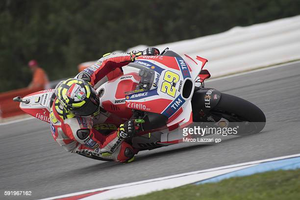 Andrea Iannone of Italy and Ducati Team rounds the bend during the MotoGp of Czech Republic Free Practice at Brno Circuit on August 19 2016 in Brno...