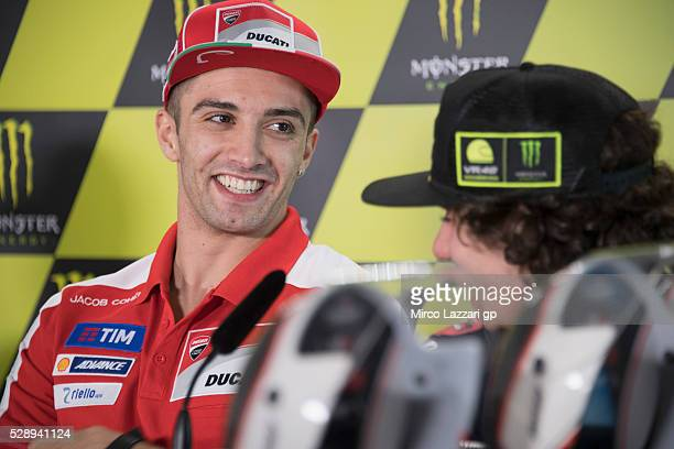 Andrea Iannone of Italy and Ducati Team smiles during the press conference at the end of the qualifying practice during the MotoGp of France...
