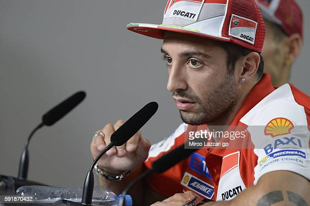 Andrea Iannone of Italy and Ducati Team speaks during the press conference preevent during the MotoGp of Czech Republic Previews at Brno Circuit on...