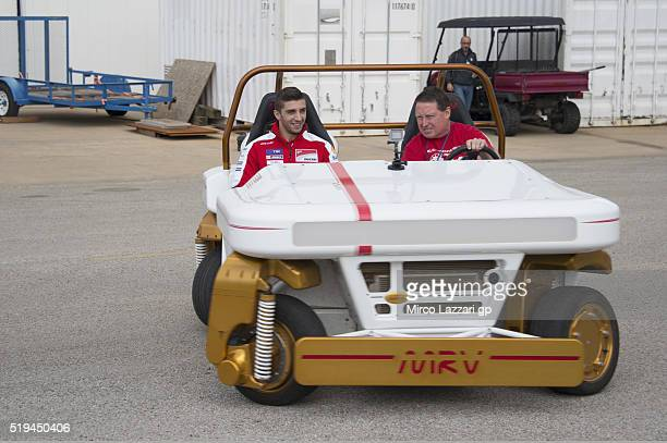 Andrea Iannone of Italy and Ducati Team tests a space vehicle during the preevent 'MotoGP Riders Visit The NASA Johnson Space Center' at Lyndon B...