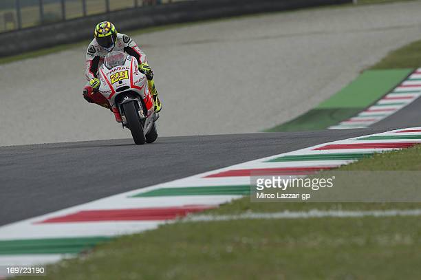 Andrea Iannone of Italy and Energy TI Pramac Racing Team heads down a straight during the MotoGp of Italy Free Practice at Mugello Circuit on May 31...