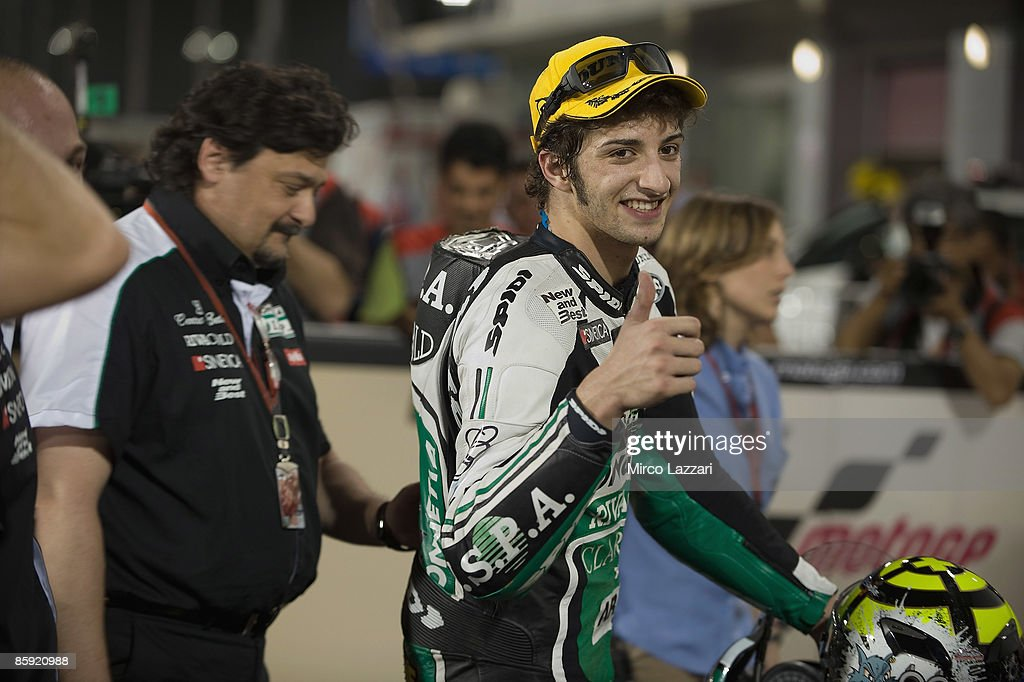 Andrea Iannone of Italy and Ongetta Team Ispa celebrates the win after the 125 cc. race to the Motorcycle Grand Prix of Doha on April 11, 2009 in Doha, Qatar.