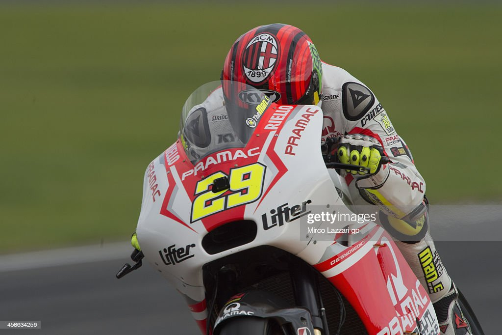 Andrea Iannone of Italy and Pramac Racing heads down a straight during the qualifying practice during the MotoGP of Valencia - Qualifying at Ricardo Tormo Circuit on November 8, 2014 in Valencia, Spain.