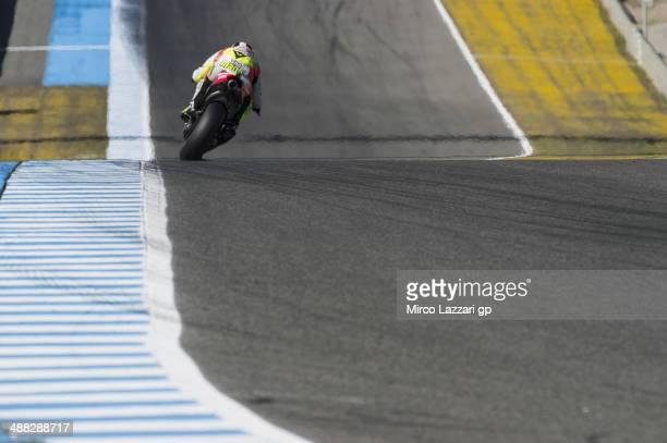 Andrea Iannone of Italy and Pramac Racing heads down a straight during the MotoGp tests at Circuito de Jerez on May 5 2014 in Jerez de la Frontera...