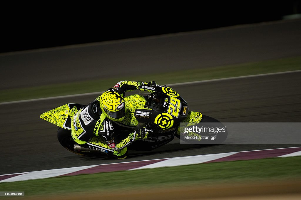 Andrea Iannone of Italy and Speed Master Gresini rounds the bend during the free practice of Doha GP at Losail Circuit on March 18, 2011 in Doha, Qatar.