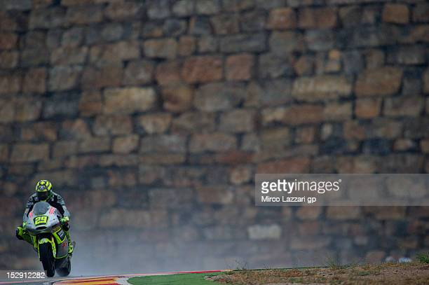 Andrea Iannone of Italy and Speed Master heads down a straight during the free practice of the MotoGP of Spain at Motorland Aragon Circuit on...