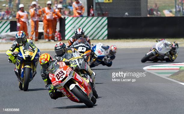 Andrea Iannone of Italy and Speed Master leads the field during the Moto2 race of the MotoGP of Italy at Mugello Circuit on July 15 2012 in Scarperia...