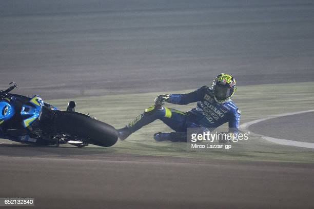 Andrea Iannone of Italy and Team Suzuki ECSTAR crashed out during the MotoGP Tests In Losail at Losail Circuit on March 11 2017 in Doha Qatar