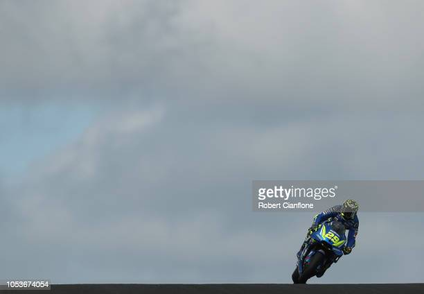 Andrea Iannone of Italy and Team Suzuki ECSTAR during free practice for the 2018 MotoGP of Australia at Phillip Island Grand Prix Circuit on October...