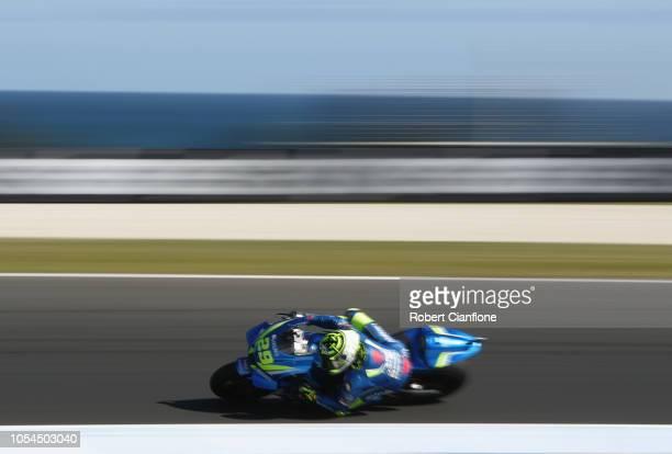 Andrea Iannone of Italy and Team Suzuki ECSTAR during the 2018 MotoGP of Australia at Phillip Island Grand Prix Circuit on October 28 2018 in Phillip...