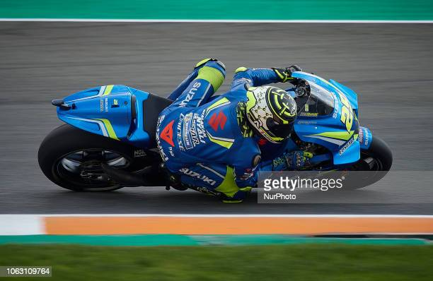 Andrea Iannone of Italy and Team Suzuki Ecstar during the qualifying of the Gran Premio Motul de la Comunitat Valenciana of world championship of...
