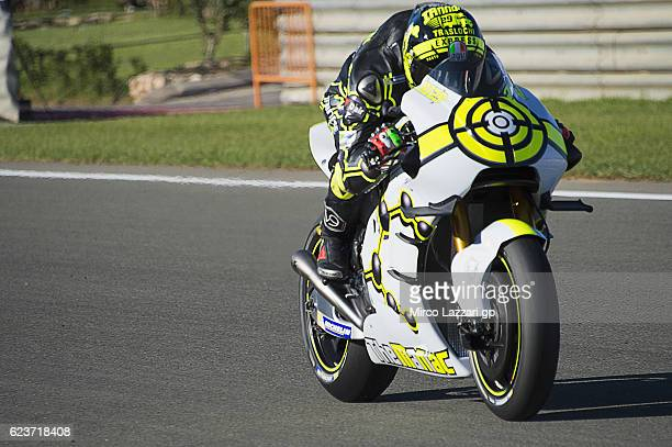 Andrea Iannone of Italy and Team Suzuki ECSTAR heads down a straight during the MotoGP Pre Season Test in Valencia at Ricardo Tormo Circuit on...