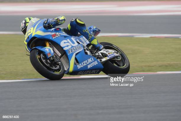 Andrea Iannone of Italy and Team Suzuki ECSTAR heads down a straight during the MotoGp of Argentina Qualifying on April 8 2017 in Rio Hondo Argentina