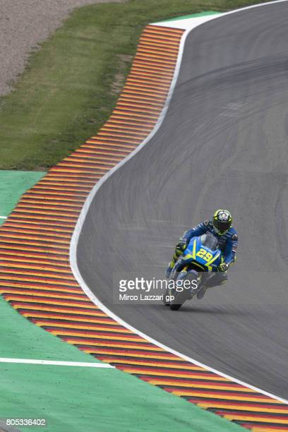 Andrea Iannone of Italy and Team Suzuki ECSTAR heads down a straight during the MotoGp of Germany Qualifying at Sachsenring Circuit on July 1 2017 in...