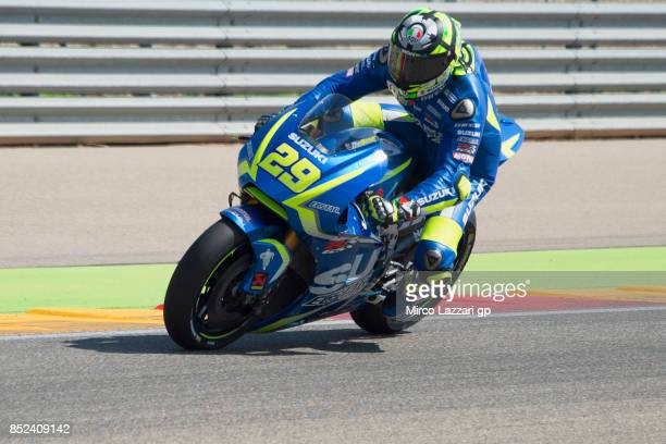 Andrea Iannone of Italy and Team Suzuki ECSTAR heads down a straight during the qualifying practice during the MotoGP of Aragon Qualifying at...
