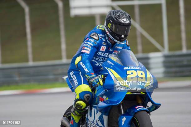 Andrea Iannone of Italy and Team Suzuki ECSTAR heads down a straight during the MotoGP Tests In Sepang at Sepang Circuit on January 29 2018 in Kuala...