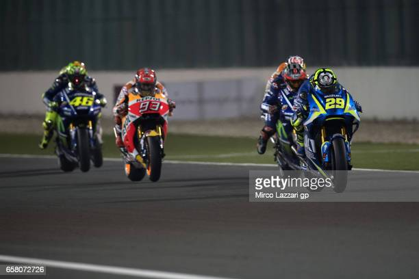 Andrea Iannone of Italy and Team Suzuki ECSTAR leads the field during the MotoGP race during the MotoGp of Qatar Race at Losail Circuit on March 26...