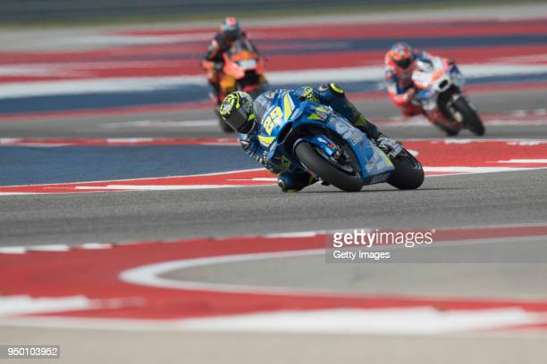 Andrea Iannone of Italy and Team Suzuki ECSTAR leads the field during the MotoGP wurmup during the MotoGp Red Bull US Grand Prix of The Americas Race...