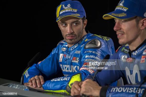 Andrea Iannone of Italy and Team Suzuki ECSTAR looks on during the press conference at the end of the MotoGP race during the MotoGP of Australia Race...