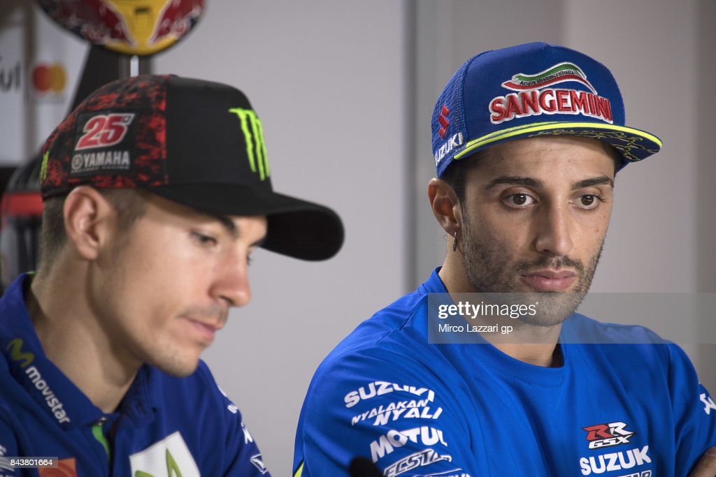 Andrea Iannone of Italy and Team Suzuki ECSTAR looks on during the press conference pre-event during the MotoGP of San Marino - Previews at Misano World Circuit on September 7, 2017 in Misano Adriatico, Italy.