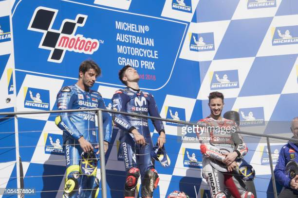 Andrea Iannone of Italy and Team Suzuki ECSTAR Maverick Vinales of Spain and Movistar Yamaha MotoGP and Andrea Dovizioso of Italy and Ducati Team...