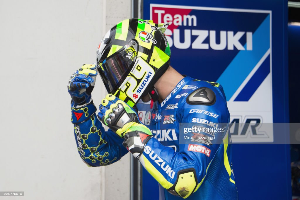 Andrea Iannone of Italy and Team Suzuki ECSTAR prepares to start from box during the MotoGp of Austria - Qualifying at Red Bull Ring on August 12, 2017 in Spielberg, Austria.