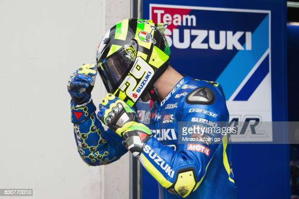 Andrea Iannone of Italy and Team Suzuki ECSTAR prepares to start from box during the MotoGp of Austria Qualifying at Red Bull Ring on August 12 2017...