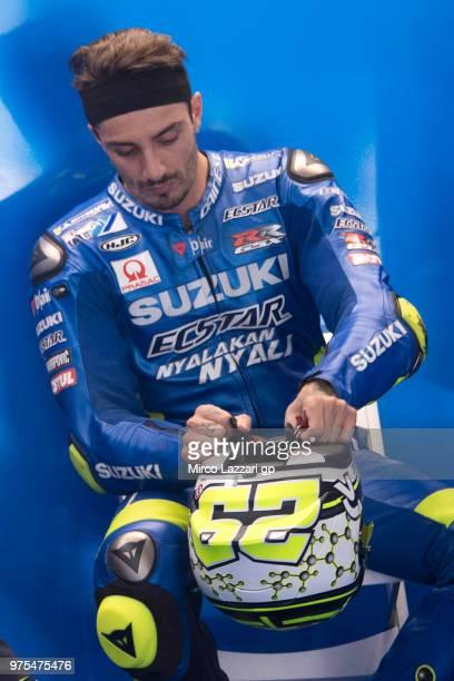 Andrea Iannone of Italy and Team Suzuki ECSTAR prepares to start in box during the MotoGp of Catalunya Free Practice at Circuit de Catalunya on June...