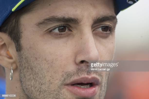 Andrea Iannone of Italy and Team Suzuki ECSTAR prepares to start on the grid during the MotoGP race during the MotoGp of Argentina Race on April 9...
