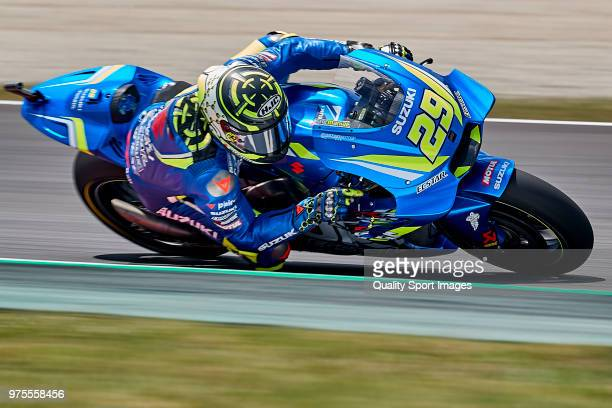 Andrea Iannone of Italy and Team Suzuki ECSTAR rides during free practice for the MotoGP of Catalunya at Circuit de Catalunya on June 15 2018 in...