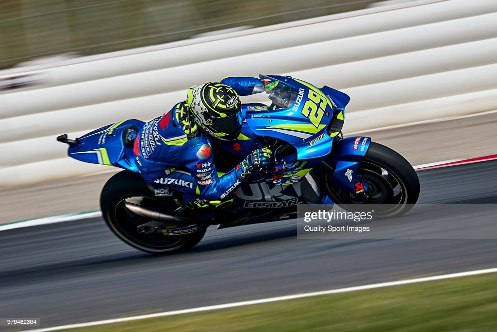 Andrea Iannone of Italy and Team Suzuki ECSTAR rides during free practice for the MotoGP of Catalunya at Circuit de Catalunya on at Circuit de Catalunya on June 16, 2018 in Montmelo, Spain.