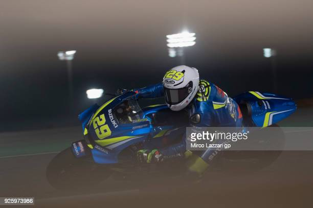Andrea Iannone of Italy and Team Suzuki ECSTAR ros the bend during the MotoGP Testing Qatar at Losail Circuit on March 1 2018 in Doha Qatar