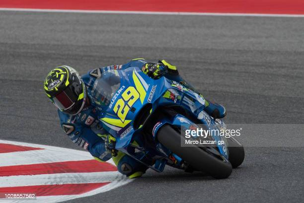 Andrea Iannone of Italy and Team Suzuki ECSTAR rounds the bend during the MotoGP of San Marino Free Practice at Misano World Circuit on September 7...