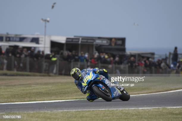 Andrea Iannone of Italy and Team Suzuki ECSTAR rounds the bend during the MotoGP qualifying during qualifying for the 2018 MotoGP of Australia at...