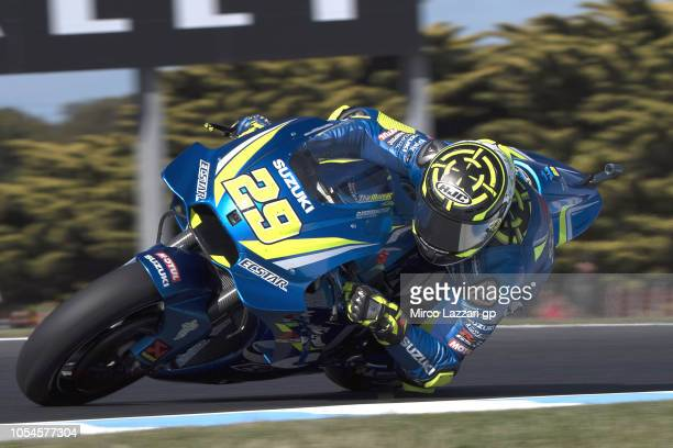 Andrea Iannone of Italy and Team Suzuki ECSTAR rounds the bend during the MotoGP race during the MotoGP of Australia Race during the 2018 MotoGP of...