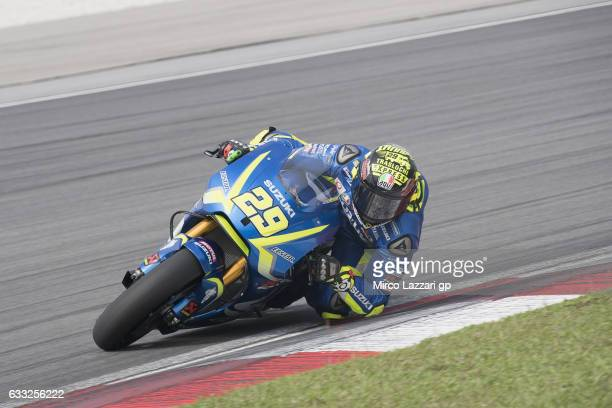 Andrea Iannone of Italy and Team Suzuki ECSTAR rounds the bend during the MotoGP Tests In Sepang at Sepang Circuit on February 1 2017 in Kuala Lumpur...