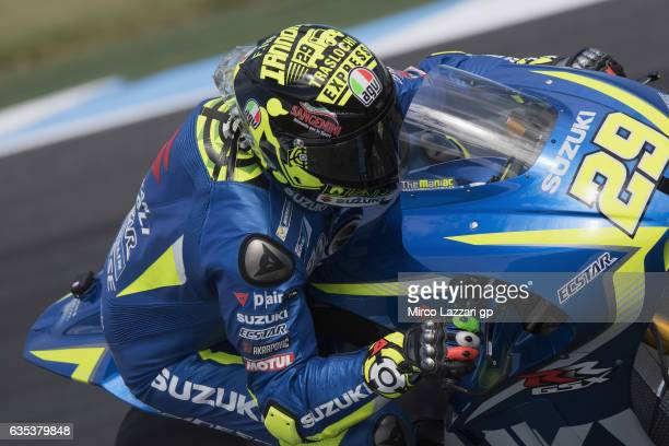 Andrea Iannone of Italy and Team Suzuki ECSTAR rounds the bend during 2017 MotoGP preseason testing at Phillip Island Grand Prix Circuit on February...