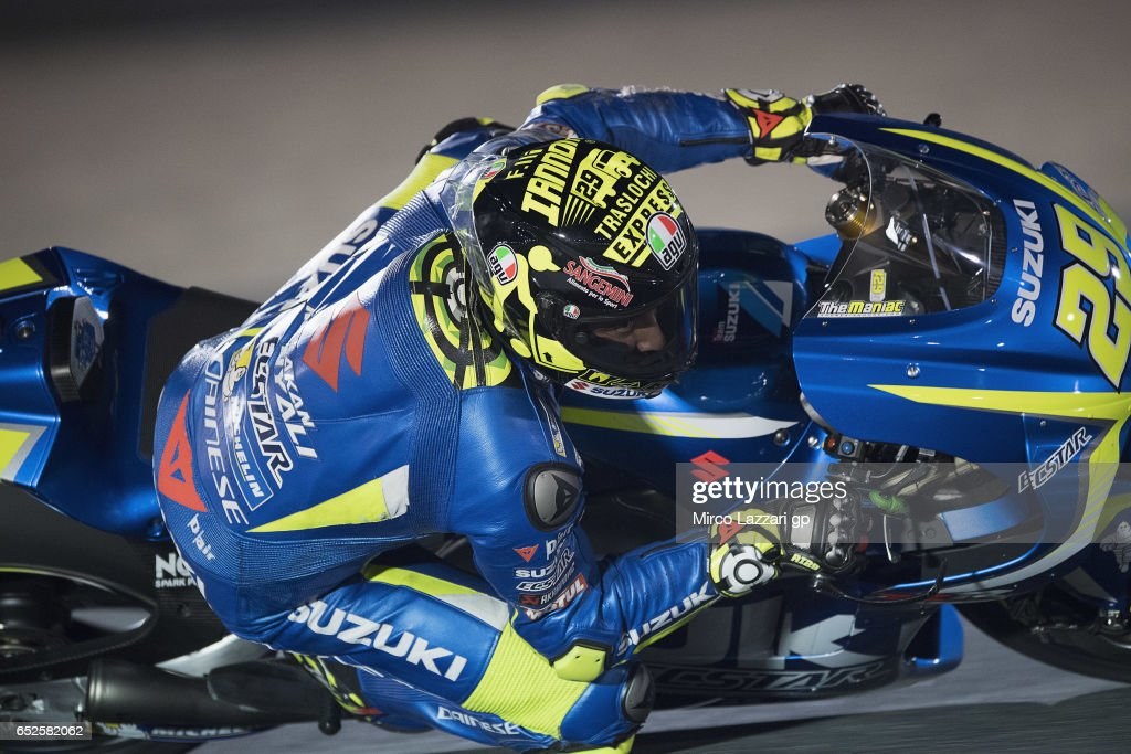 Andrea Iannone of Italy and Team Suzuki ECSTAR rounds the bend during the MotoGP Tests In Losail at Losail Circuit on March 12, 2017 in Doha, Qatar.