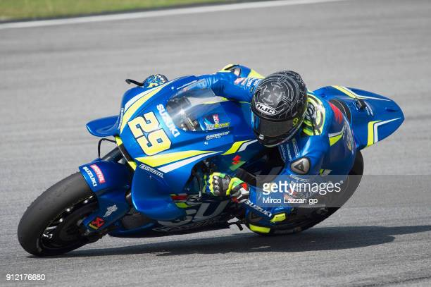Andrea Iannone of Italy and Team Suzuki ECSTAR rounds the bend during the MotoGP test in Sepang at Sepang Circuit on January 30 2018 in Kuala Lumpur...