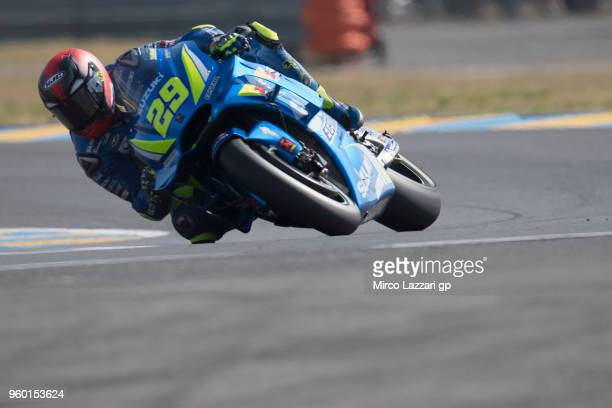 Andrea Iannone of Italy and Team Suzuki ECSTAR rounds the bend during the qualifying practice during the MotoGp of France Qualifying on May 19 2018...