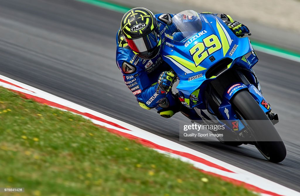 Andrea Iannone of Italy and Team Suzuki Ecstar rounds the bend during free practice for the MotoGP of Catalunya at Circuit de Catalunya on June 15, 2018 in Montmelo, Spain.