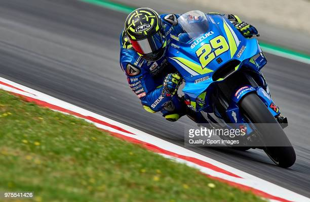 Andrea Iannone of Italy and Team Suzuki Ecstar rounds the bend during free practice for the MotoGP of Catalunya at Circuit de Catalunya on June 15...