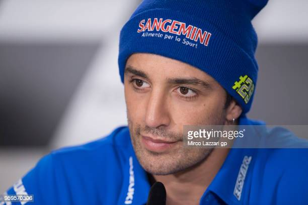 Andrea Iannone of Italy and Team Suzuki ECSTAR smiles during the press conference during the MotoGp of France Previews on May 17 2018 in Le Mans...