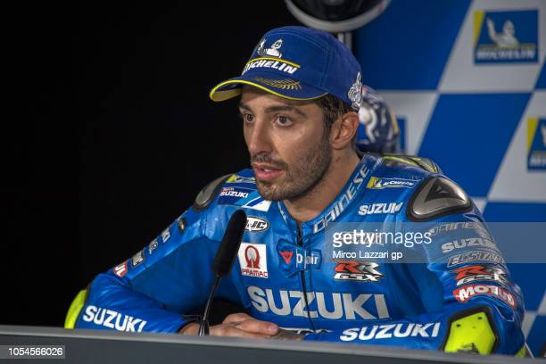 Andrea Iannone of Italy and Team Suzuki ECSTAR speaks during the press conference at the end of the MotoGP race during the MotoGP of Australia Race...