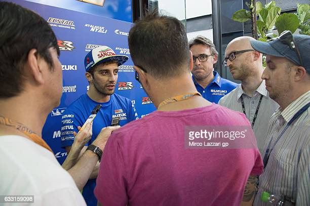 Andrea Iannone of Italy and Team Suzuki ECSTAR speaks with journalists during the MotoGP Tests In Sepang at Sepang Circuit on January 31 2017 in...