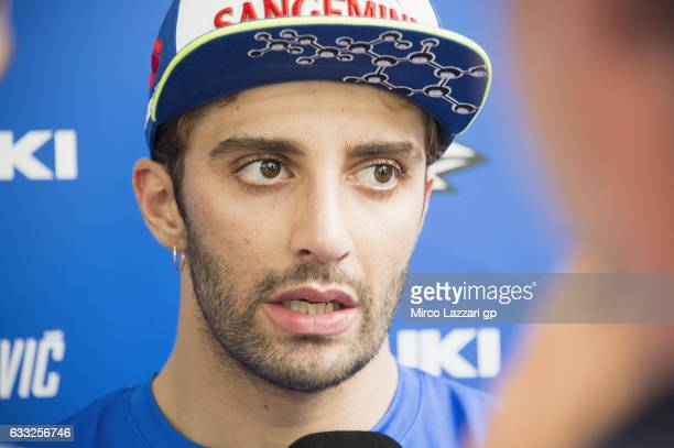 Andrea Iannone of Italy and Team Suzuki ECSTAR speaks with journalists during the MotoGP Tests In Sepang at Sepang Circuit on February 1 2017 in...